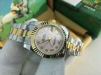New Swiss Ladies Rolex Oyster Datejust Perpetual Automatic Watch, pink dial two tone