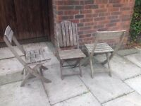 3 Teak Wood Garden Chairs - Folding Chairs Patio Chair in VGC