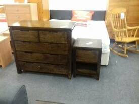 Solid dark wood Chest of Drawers and Bedside Cabinet at BHF Glasgow