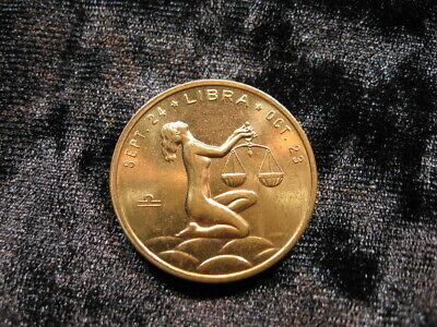 Beautiful old vintage Zodiac token coin nude Libra woman (293)