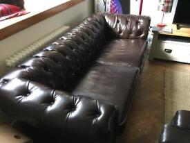 Brown leather chesterfield couch for sale