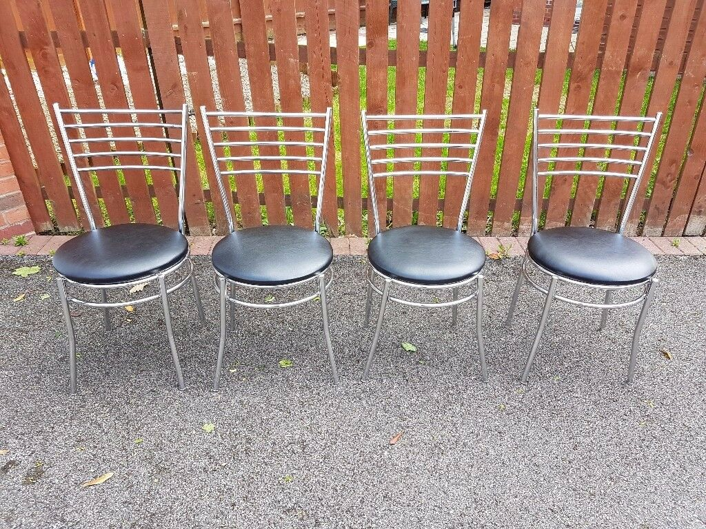 4 Chrome & Black Leather Chairs FREE DELIVERY 023