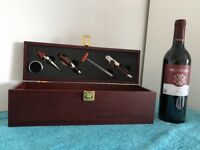 WINE SET IN WOODEN GIFT BOX, comprises of wine bottle and tool accessories. Brand New.