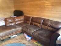 Left hand L shape leather sofa and arm chair