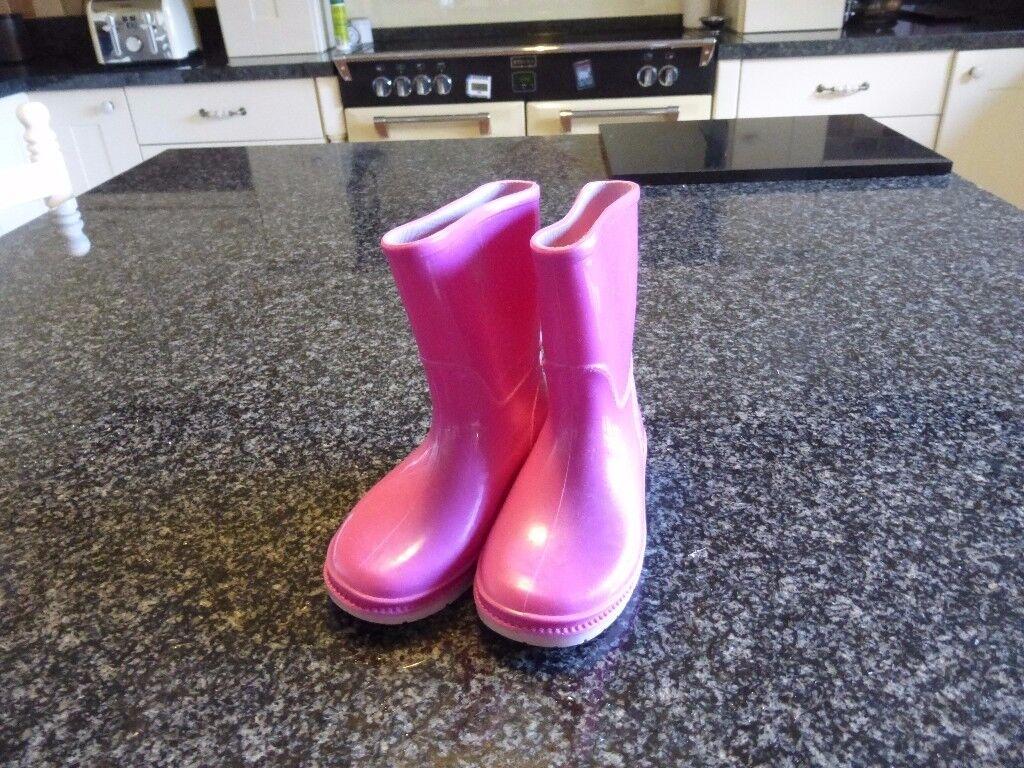 Clarks pink wellington boots