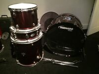 4 Piece Mapex Tornado Drum Kit Red (Not Complete)