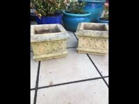 Pair weathered vintage Cotswold stone garden planters