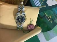 LADIES Rolex Datejust Black Dial Two tone