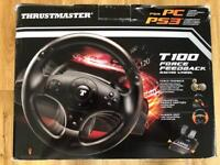 Thrustmaster T100 Force Feedback Racing Steering Wheel for PS or PC