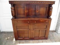 antique oak carved court cupboard sideboard could be 18th cent very solid