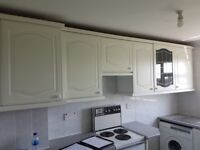 Kitchen units, worktop and sink - white wood, USED BUT EXCELLENT CONDITION
