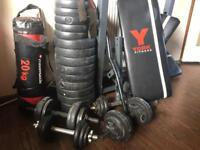 Weights, punch bag, bench