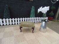 BEAUTIFUL GREEN VELVET FOOT STOOL WITH QUEEN LEGS VERY SOLID AND IN EXCELLENT CONDITION