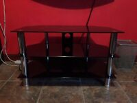 3 tier glass tv stand with cable management