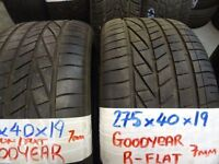 MATCHING PAIR 275 40 19 GOODYEAR RUNFLATS 7MM TREAD £90 PAIR SUP & FITD (loads more av} TXT S