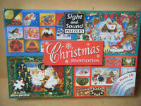 """Sight and Sound puzzles """"CHRISTMAS MEMORIES"""" 4 x 250 piece puzzles & CD. New and Sealed."""