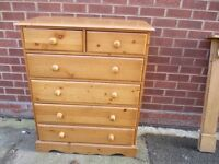 Chest of Solid Waxed 2 over 4 Large Chest of Drawers.