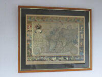 World Map Gold Engraving Picture - from original engraving by Moses Pitt 1681
