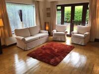 Cream Fabric 2 Seater Sofa + 2 Armchairs 3 Piece Suite