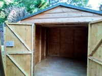 "Solid wood shed 1"" thick log effect boards 10' X 8' will deliver and install"
