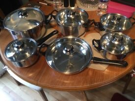 Stainless steel pan set all with lids