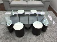 Glass Coffee Table with Stools