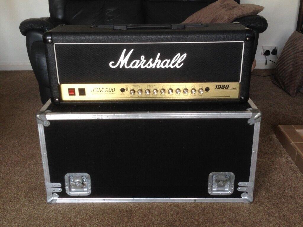 9ab95b520f Marshall JCM 900 100w High Gain Dual Reverb 4100 Guitar Amp Head soft cover  and flight case. 1996