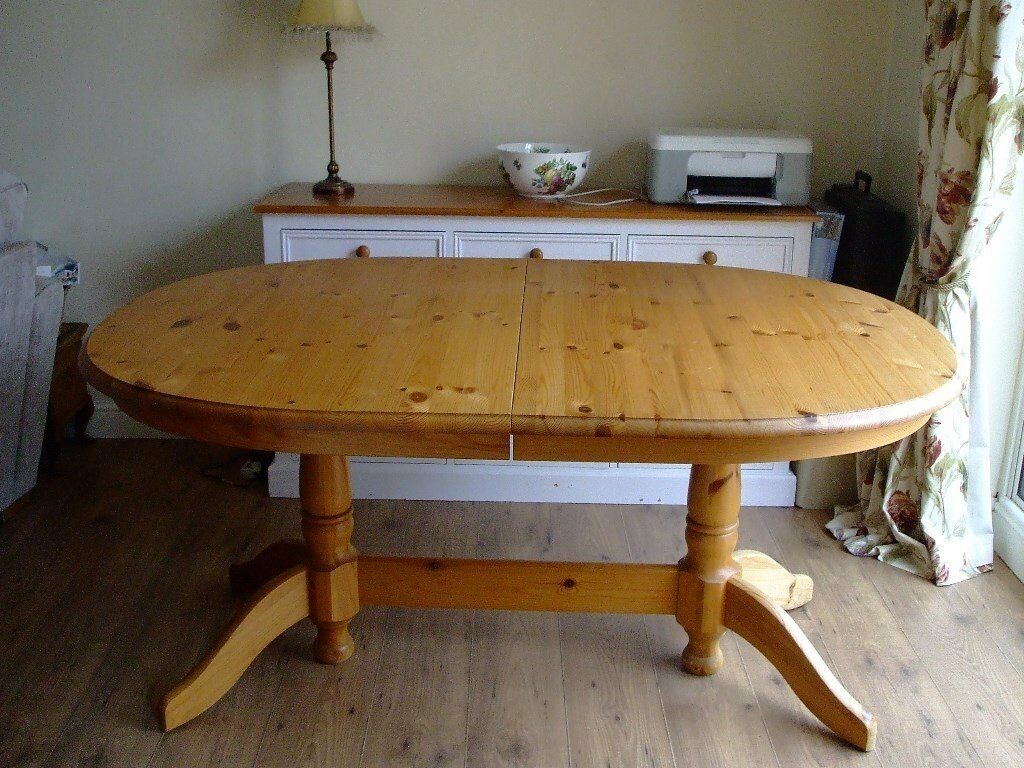 Oval Extending Solid Pine Dining Room Table In