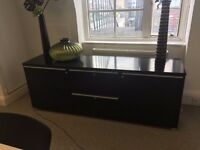 Long Black Filing Unit (with 2 doors and 2 drawers)