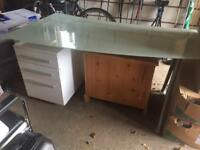 Glass office desk with drawers