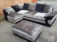 Lovely black & silver crushed velvet corner sofa and footstool.or larger corner.1 month.can deliver
