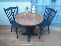 Beautiful Small Bistro/Cafe Table and Dining Chairs. Solid Oak in Annie Sloan Graphite. £90
