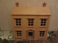 DOLLS HOUSE IN EXCELLENT USED CONDITION HAVING HAD LITTLE USE COMPLETE WITH BOX OF FURNITURE & TOYS.