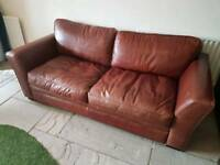 Brown leather double sofa bed