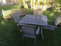 Garden table and five chairs