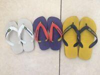 HAVAIANAS 3 pairs of used Flip Flops