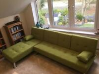 Lime Sofa Bed Chaise Longue Combo