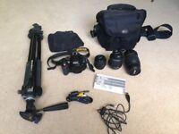 Nikon D5100 plus 3 lenses, tripod and camera bag