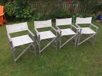 Four director style teak garden chairs, must go!