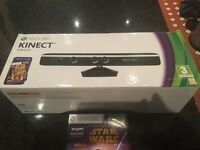 X Box 360 Kinect Sensor complete with Connect Adventures and Kinect Str Wars Game