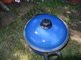 3 Large Non Stick Saucepan Cooking Pan With Lids 2 blue and one green hardly used