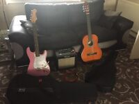 Guitar starter set, acoustic and electric guitar, with amp and accessories
