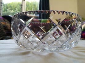 Vintage Crystal Cut Glass Bowl.Very heavy with clear 'bell' tone.Beautiful Condition.Prism effect.