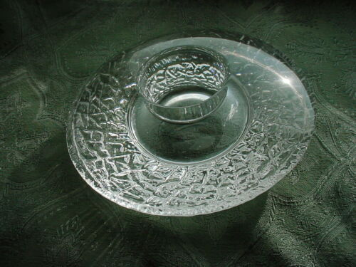 Swedish Crystal Orrefors Art Glass Candle Holder Discus