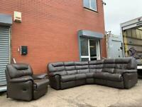 DFS Real leather reclining corner sofa & chair delivery 🚚 sofa suite couch furniture