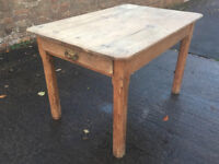 Antique pine victorian table with drawer