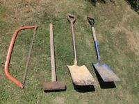 garden tools - sledge hammer - shovels - bow saw . from £2 each