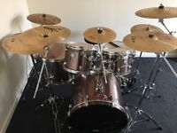 full mapex drum kit good condition double bass symbols stool good skins sticks