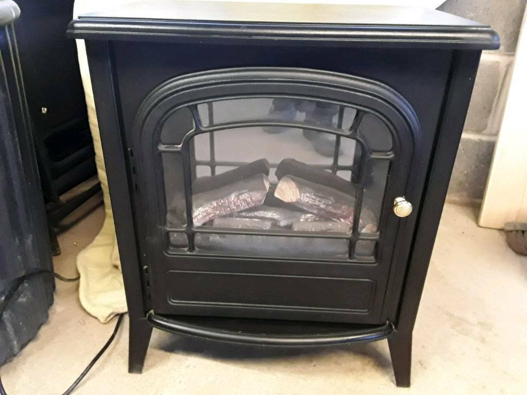 Log effect electric stove fire