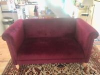 Beautiful red velvet sofa immaculate condition